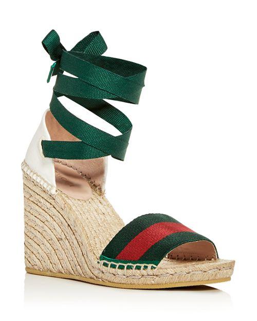 79ada6ad Gucci Ankle Tie Platform Wedge Espadrille Sandals