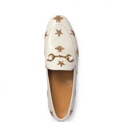Gucci Jordaan Embroidered Leather Loafers top
