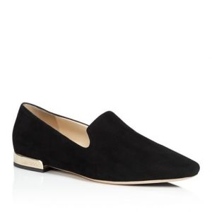 Jimmy Choo Jaida Suede Square Toe Smoking Slipper Flats