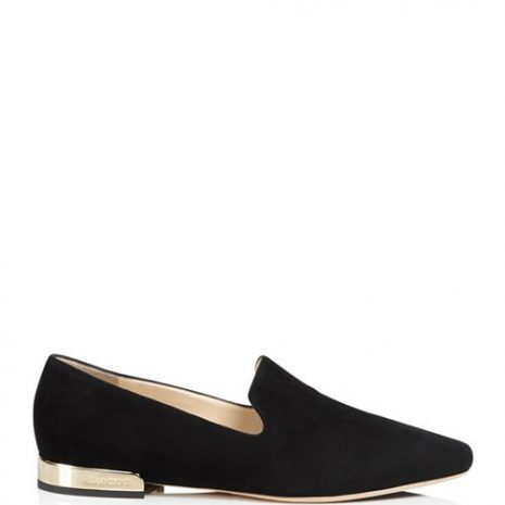 Jimmy Choo Jaida Suede Square Toe Smoking Slipper Flats side
