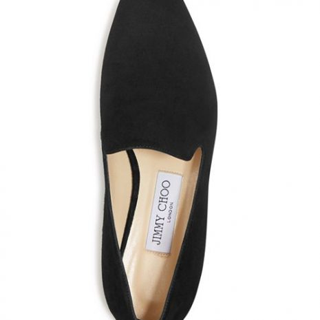 Jimmy Choo Jaida Suede Square Toe Smoking Slipper Flats top