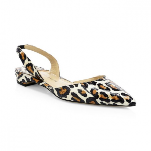Paul Andrew Rhea Point Toe Leopard Slingback Flats