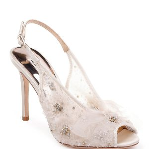 Badgley Mischka Aimee Embellished Mesh Pumps