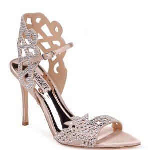 Badgley Mischka Amery Laser-Cut Beaded Sandals