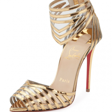 Christian Louboutin Maratena 100 Metallic PVC Red Sole Sandals 2