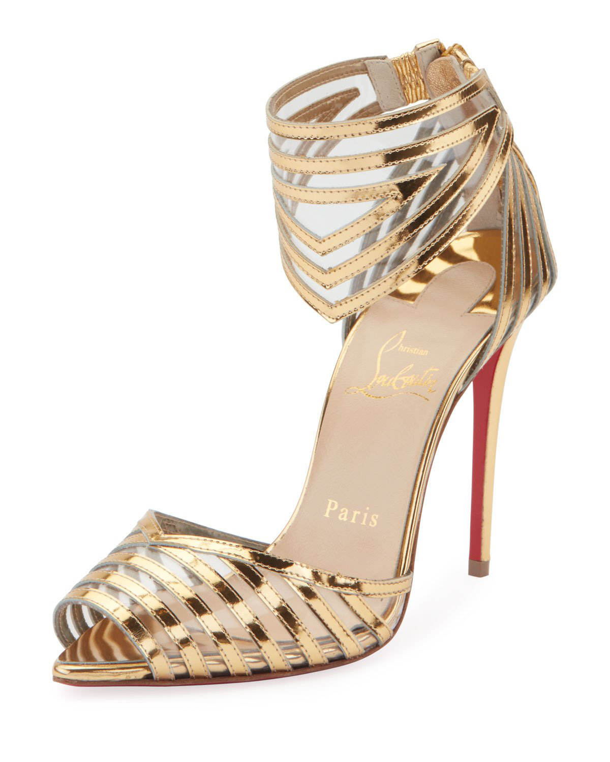 best service fc990 bd8d6 Christian Louboutin Maratena 100 Metallic/PVC Red Sole Sandals