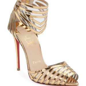 Christian Louboutin Maratena 100 Metallic/PVC Red Sole Sandals