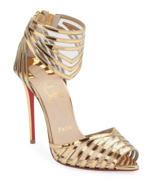 Christian Louboutin Maratena 100 Metallic PVC Red Sole Sandals