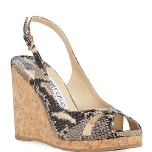 Jimmy Choo Amely Snake-Print Slingback Wedge Sandals