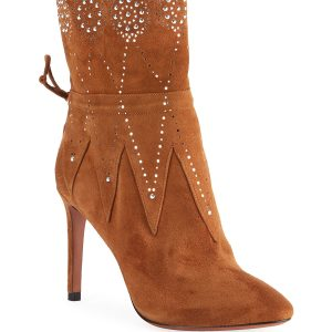 ALAIA Crystal-Beaded Suede Booties