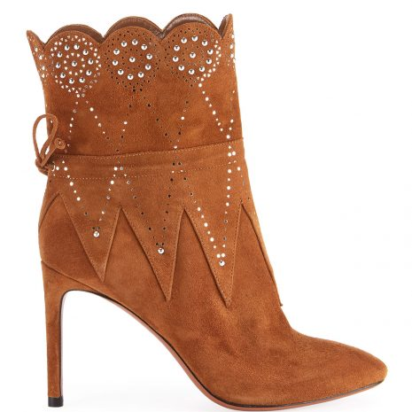 ALAIA Crystal-Beaded Suede Booties2