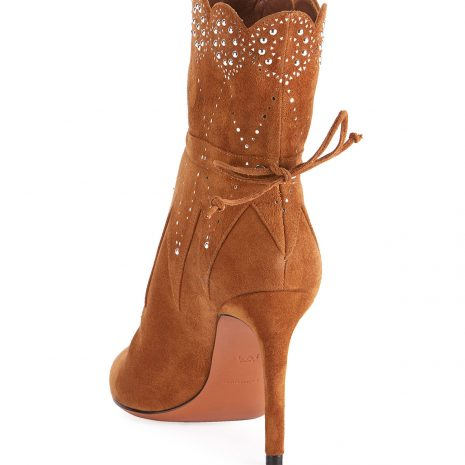 ALAIA Crystal-Beaded Suede Booties3