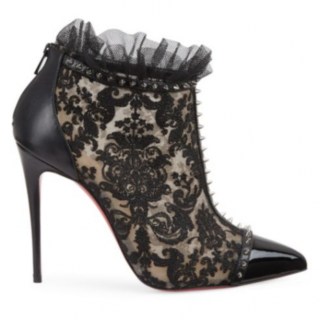 Christian Louboutin Pigalle 100 Studded Lace Booties1