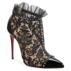 Christian Louboutin Pigalle 100 Studded Lace Booties