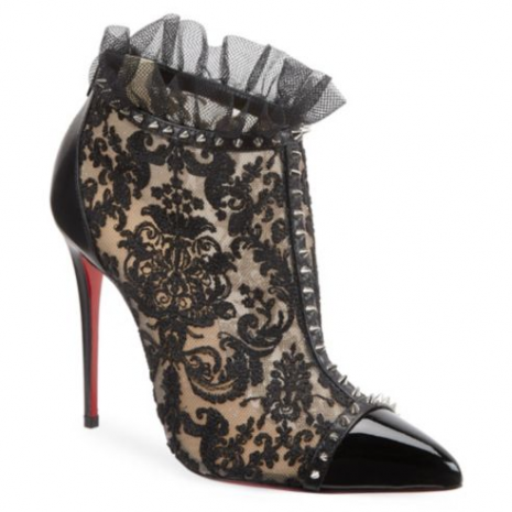 Christian Louboutin Pigalle 100 Studded Lace Booties2