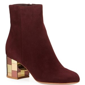 Gianvito Rossi Suede Mirror-Heel Ankle Booties