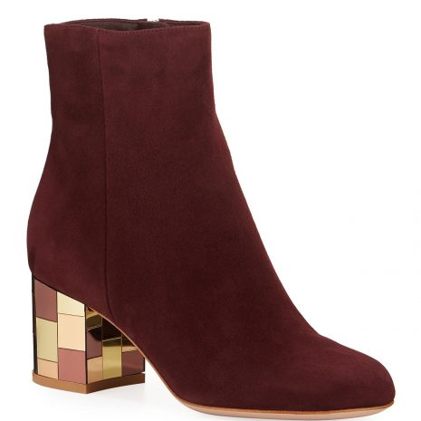 Gianvito Rossi Suede Mirror-Heel Ankle Booties1
