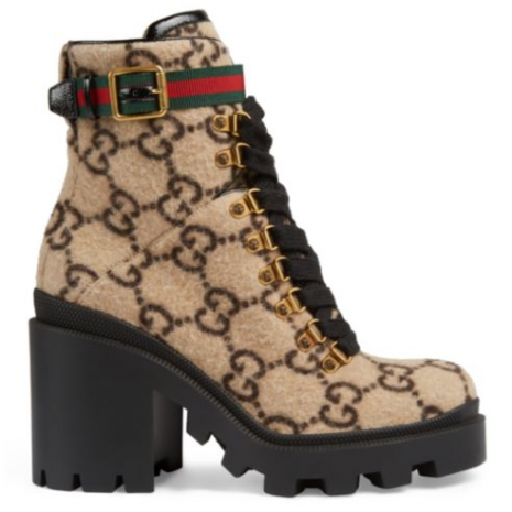 Gucci Trip GG Wool Combat Boots1