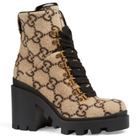 Gucci Trip GG Wool Combat Boots2