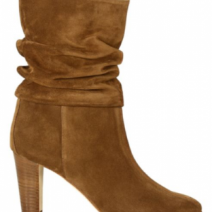 Manolo Blahnik Ruched Mid-Calf Suede Boots