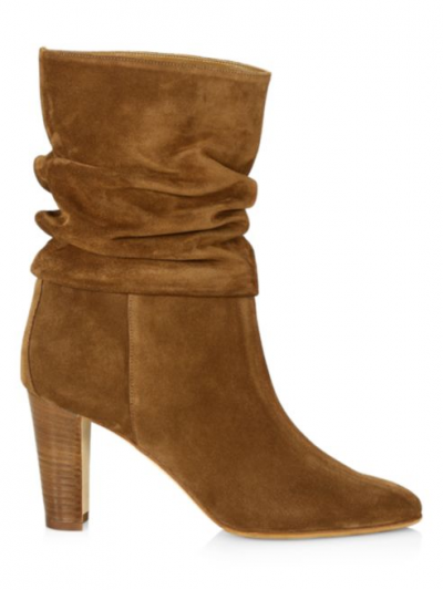 Manolo Blahnik Ruched Mid-Calf Suede Boots1