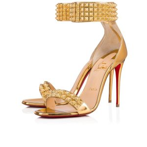 Christian Louboutin Priyadora Metallic Spike Red Sole Sandals