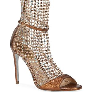 Rene Caovilla Mesh and Metallic Net Booties