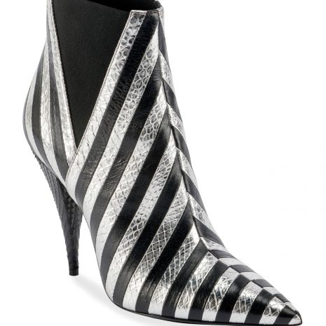 Saint Laurent Kiki Contrast Striped Leather Booties1