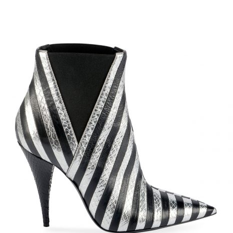 Saint Laurent Kiki Contrast Striped Leather Booties2