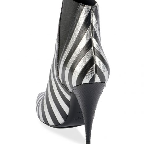 Saint Laurent Kiki Contrast Striped Leather Booties4