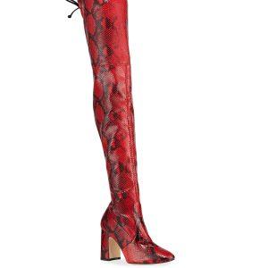 Stuart Weitzman Kristie Python-Print Leather Tall Boots